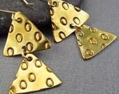 Hand Cut Brass Triangle Earrings Mod Geometric Earrings Gold Modern Jewelry Contemporary Earrings
