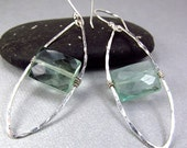 Long Green Mod Earrings Green Gemstone Earrings Flourite Sterling Silver Hammered Texture Hoops Modern Mod