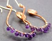 Purple Gemstone Earrings Hammered Copper Genuine Amethyst Earrings February Birthstone Earrings Hoops Lavender Bohemian Dangle Earrings
