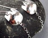 TULIP Earrings Flower Earrings Hammered Sterling Silver Earrings Whimsical Earrings Textured Metal