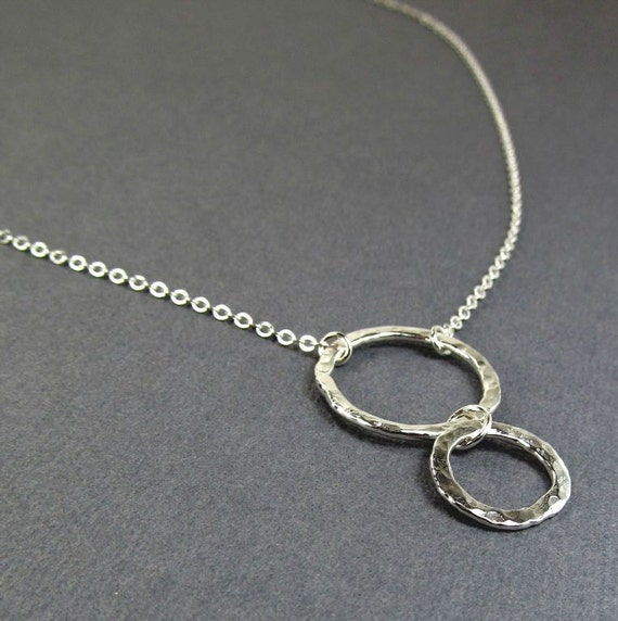 Silver Hoop Pendant Eternity Circles Pendant Fine Silver (.999) Geometric Necklace Sterling Silver Chain Bohemian Casual Everyday