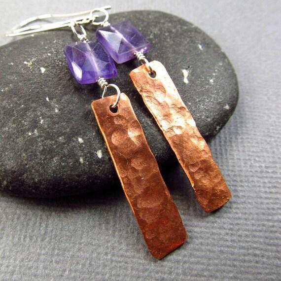 Purple Bohemian Earrings Long Mod Amethyst & Hammered Copper Earrings Violet Gemstone Jewelry
