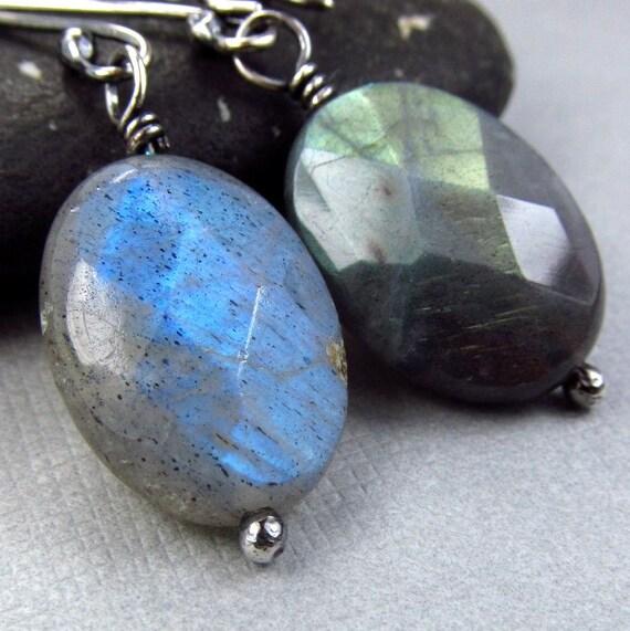 Labradorite Gemstone Earrings Oxdized Black Gray Sterling Silver Patina Antiqued Bohemian Grey Dangle Earrings