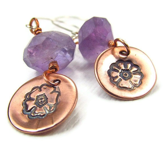 Purple Flower Earring Amethsyts Artisan Earrings Rough Gemstone Hand Stamp Copper Jewelry  Sterling Silver Violet Bohemian Earrings