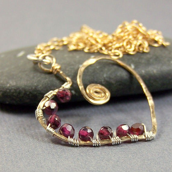 Hammered Gold & Garnet Heart Pendant Necklace Made in America Red Gemstone Heart Pendant Wire Wrapped Ample Goddess Jewelry