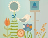 garden birdhouse in blue and orange. 8 x 10 printed illustration of a bird in the garden