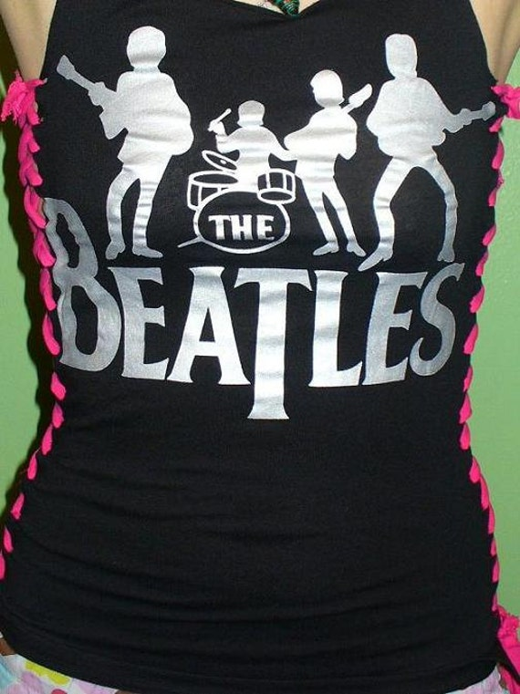 The Beatles Tank Laces Down Sides Hot Reconstructed Rock Wear