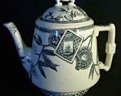 Antique Wedgewood teapot, Louise Pattern Black on White