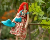 SALE - Redhead girl with hare - Crochet doll with needle felted animal - OOAK Art Doll - Gift for girl
