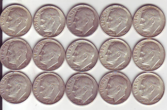 Roosevelt Dimes Lot Of 15 - 90% Silver Coins 1946-1964