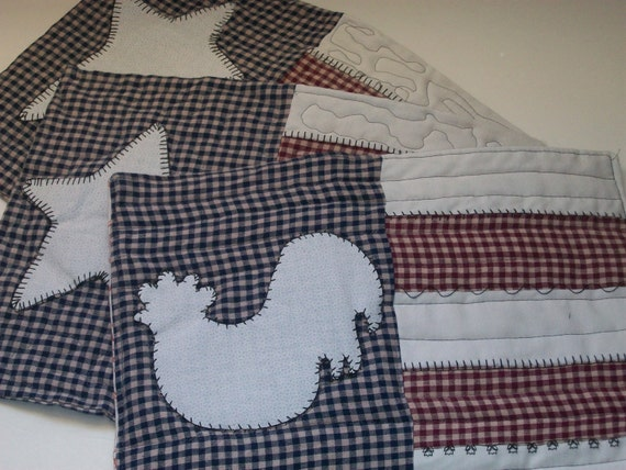 set of 3 Americana table mats