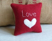 """Red """"Love"""" Valentine Decoration with White Heart and Twine"""
