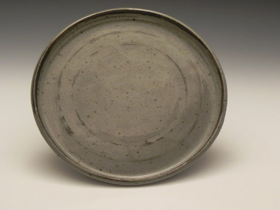 Large Stoneware Plate w Brown Stripe