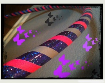 Flying Orchid Dance & Exercise Hula Hoop COLLAPSIBLE Polypro, HDPE, beginner, advanced, or weighted - neon pink silver purple uv