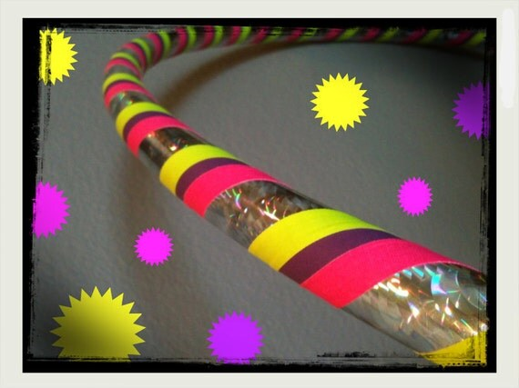 Spring Bloom Dance & Exercise Hula Hoop COLLAPSIBLE or Push Button - pink yellow purple silver