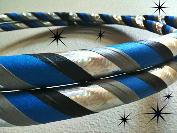 Black and Blue Dance & Exercise Hula Hoop COLLAPSIBLE or Push Button - silver gray