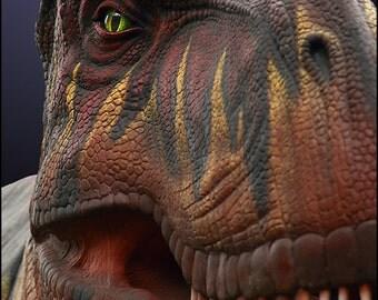 """T Rex Dinosaur Wall Art Boys Bedroom Decor -- 12x18"""""""