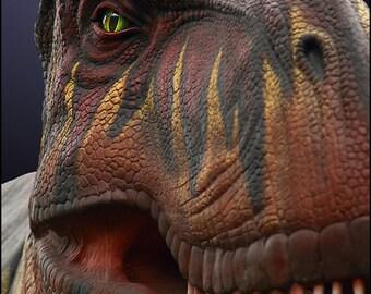 "Dinosaur Wall Art -- T Rex 10x15"""