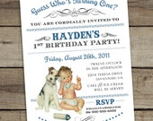 "DIY Custom Printable ""Guess Who's Turning One"" First Birthday Invitation - BOY"