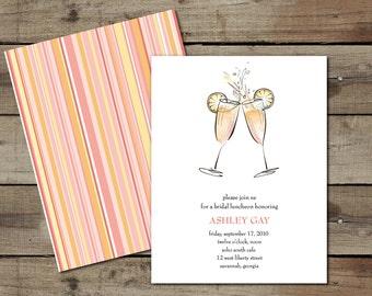"DIY Custom Printable ""Mimosas"" Bridal Luncheon Invitation"
