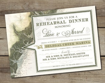 "DIY Custom Printable ""Nautical Map"" Rehearsal Dinner Invitation"