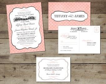 DIY Custom Printable Vintage Chic Tablecloth Wedding suite
