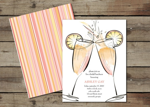 "DIY Custom Printable ""Mimosas 2"" Bridal Luncheon Invitation"