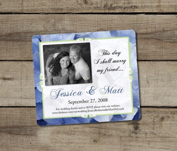 "DIY Custom Printable ""Blue Hydrangea"" Save the Date Magnet"