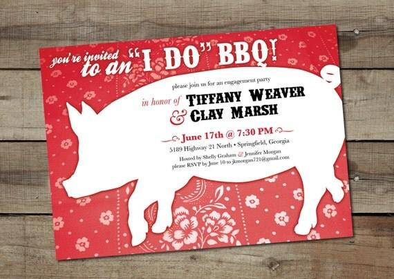 "DIY Custom Printable ""I Do BBQ"" Engagement Party Invitation"