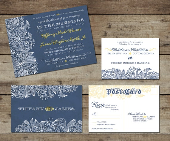 Vintage Chic Floral/Cornflower Wedding Invitation