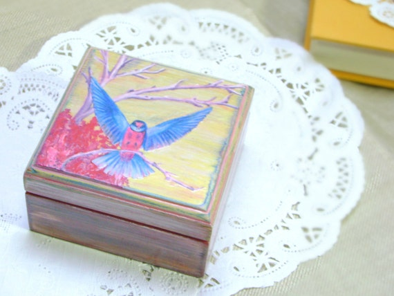 Bird Jewelry Box Mother's Day Gift Hand Painted Shabby Chic Decor Pink and Blue Handmade by MissSarahMac on Etsy