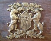 RESERVED for Anastasia Vintage Heraldry Shield Coat of Arms Plaque Ft. Bull and Bear Haraldic Crest