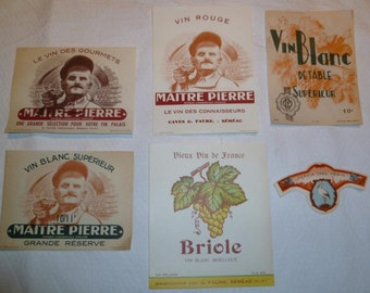 6 French Vintage Wine Label Lot For Decoupage Scrapbooking or Card Making Circa 1940s/1950s