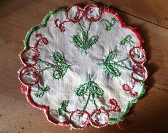 Retro Handmade Doilie Shabby Chic Cherries Hand Embroidered Mid Century
