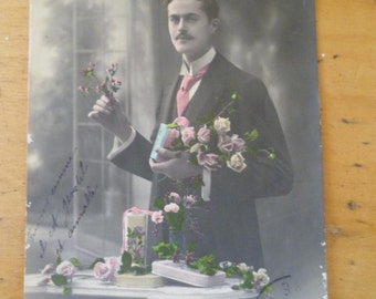 Art Nouveau Postcard Bonne Annee Vintage French Photo Dashing Gentilhomme