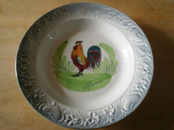 Faience Majolica Charger St. Amand Hand Painted Rooster Art Nouveau French Shabby Chic