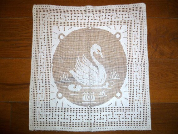 French Vintage Net Panel With Swan Mid Century Panel For Crafts and Upcycling