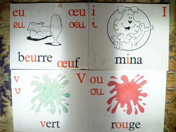 Vintage French School Flash Cards Shabby Chic Design Accents