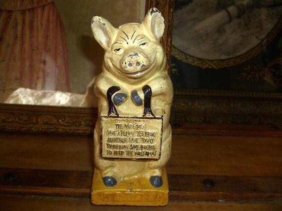 Thrifty Pig Cast Iron Money Box Piggy Bank 1920s Still Bank  Thrifty Pig Cas...