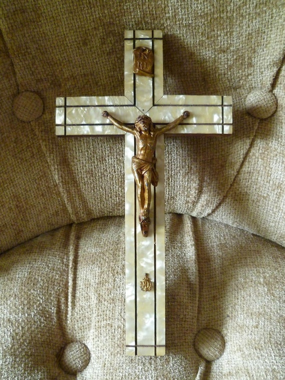 Antique Crucifix Cross Art Deco Era Circa 1920s Faux Mother of Pearl and Spelter ND Crest