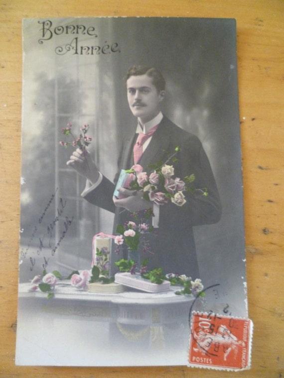 Art Nouveau Postcard Bonne Annee Vintage French Photo Dashing Gentilhomme