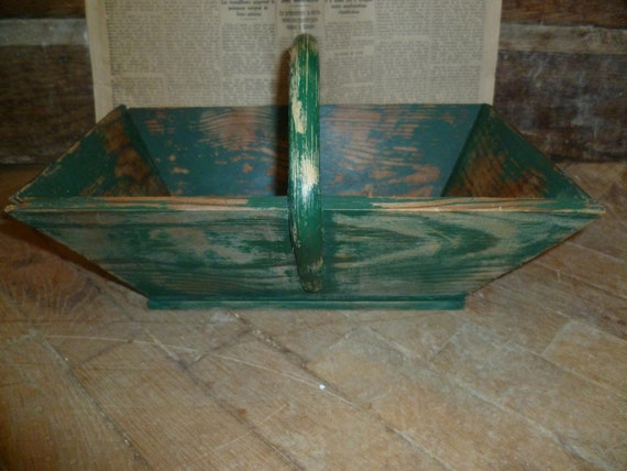 French Vintage Green Wood Panier Basket Rustic Farmhouse Bentwood Shabby Chic