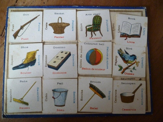 Multilingual Flash Card French Antique Childrens Game with Bingo Sheet Gun