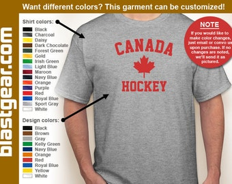 Canada Hockey T-shirt — Any color/Any size - Adult S, M, L, XL, 2XL, 3XL, 4XL, 5XL  Youth S, M, L, XL