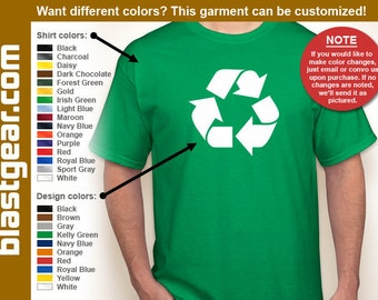 Recycle Symbol T-shirt — Any color/Any size - Adult S, M, L, XL, 2XL, 3XL, 4XL, 5XL  Youth S, M, L, XL
