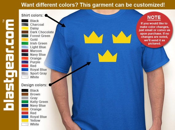 Sweden Tre Kronor (T-shirt — Any color/Any size - Adult S, M, L, XL, 2XL, 3XL, 4XL, 5XL  Youth S, M, L, XL
