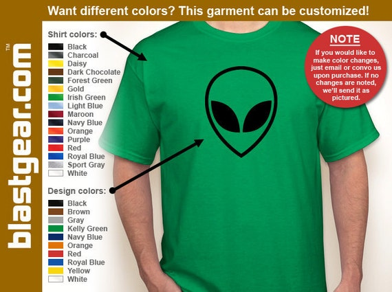 Alien Head funny T-shirt — Any color/Any size - Adult S, M, L, XL, 2XL, 3XL, 4XL, 5XL  Youth S, M, L, XL