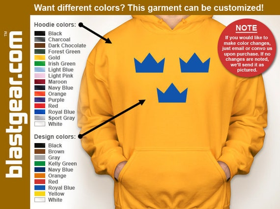Sweden Tre Kronor hooded sweatshirt — Any color/Any size - Adult S, M, L, XL, 2XL, 3XL, 4XL, 5XL  Youth S, M, L, XL