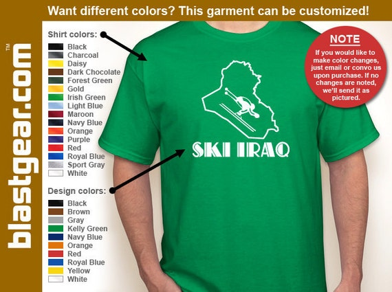 Ski Iraq funny T-shirt — Any color/Any size - Adult S, M, L, XL, 2XL, 3XL, 4XL, 5XL  Youth S, M, L, XL