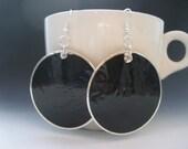 Black Round Capiz Shell Earrings